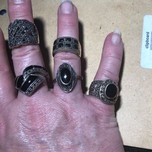 Jewelry - Lot Of 5 925 Onyx Marcasite Rings ALL